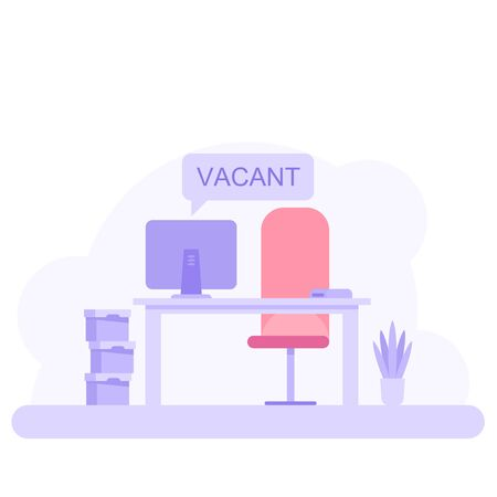 Office workplace with vacancy sign. Empty seat, chair in room for employee. Business hiring, recruitment concept. Vector illustration in flat style.
