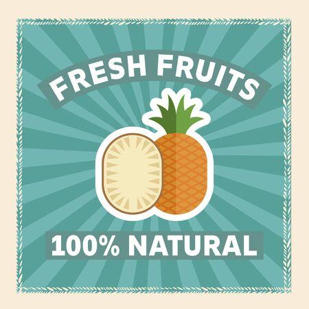 Isolated fruit vector flat illustration for fresh poster Stock Illustratie