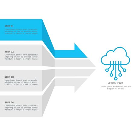 Cloun technology arrows options concept for infographic Illustration