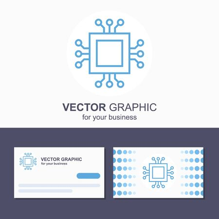 Technology microchip icon  concept. Business card template. Illustration