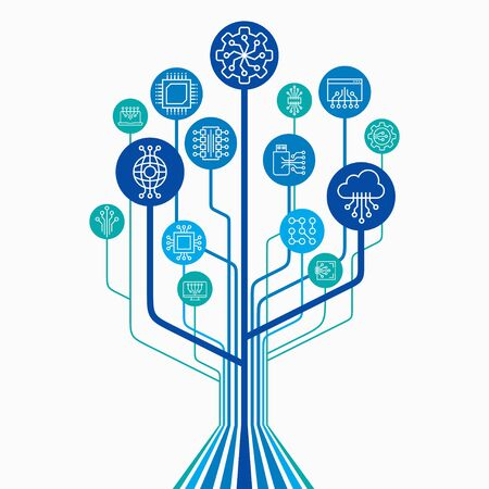 Tree of computer technology icons connection concept. Electronic system network. Illustration