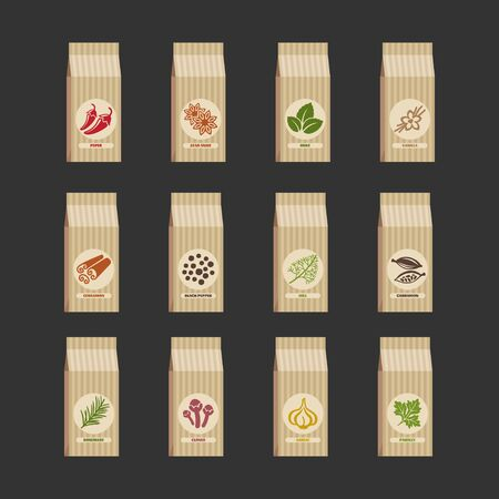Set of flat vector packaging spices .12 different spices over background. 向量圖像