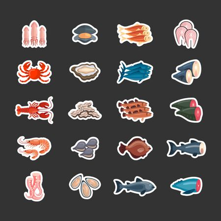 Set of flat vector seafood in sticker style. lobster, oysters, mussels and shrimp. Flat vector illustration. Ilustração
