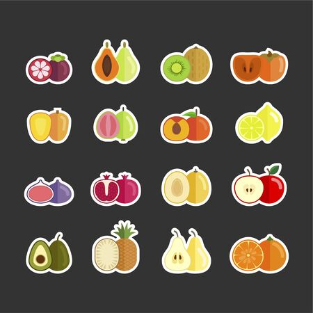 Vector set of fruit stickers in flat style. Summer vegeterian healthy food.