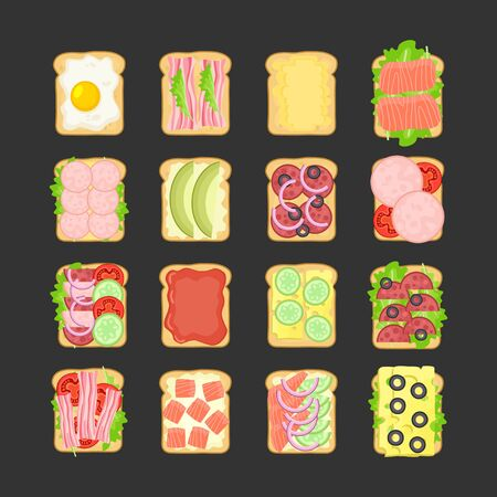 Sandwich vector set with different ingredients. Fast food traditional breakfast and dinner. Illustration for cafe and restaurant menu.