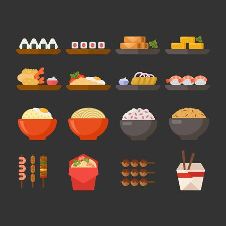 Asian food vector icon collection. Japanese and Chines dishes for menu or restaurant and cafe. Food design illustration set.