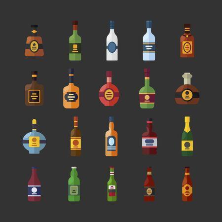 Drinks and beverages alcohole illustration set in flat style. Bottles for bar or restaurant menu. Drinks set for graphic design. Çizim