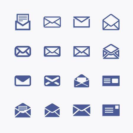 Set of icons for messages. Vector mail pictograph illustration. Ilustração