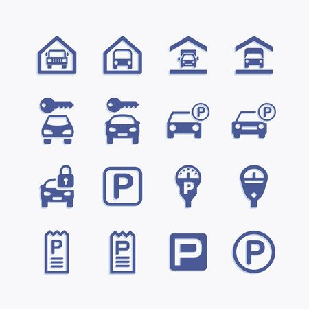 Parking icon and pictogram set. Information road symbols.