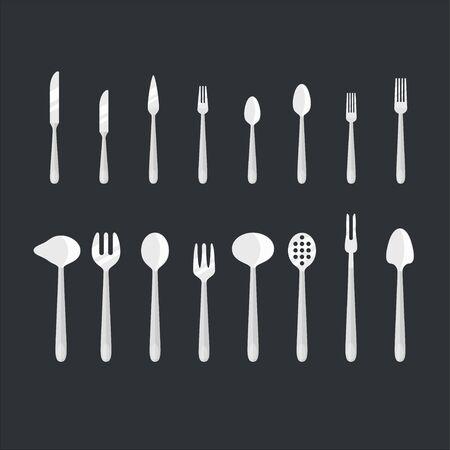 Cutlery set vector illustration for food design. Çizim