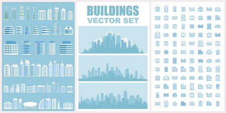 Buildings vector set. Collection of town and city urban architecture for your design. Contain pictogram icons, vector buildings and skyscrapers, town backgrounds.
