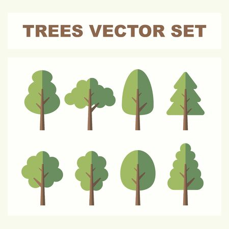 Set of abstract stylized trees for parks and forest. Natural illustration. Illustration