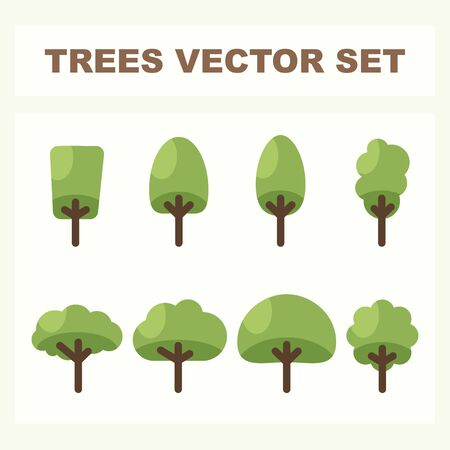 Set of abstract stylized trees for parks and forest. Natural illustration. Ilustração