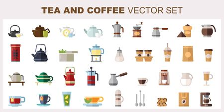 Big set of tea and coffee vector flat illustrations.