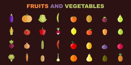 Fruit and vegetables vector set. Ready for healthy and natural products. Organic food for your designs. Illustration