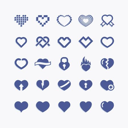 Love and heart vector icon set. Romantic symbol collection. Valentine pictogram icons.