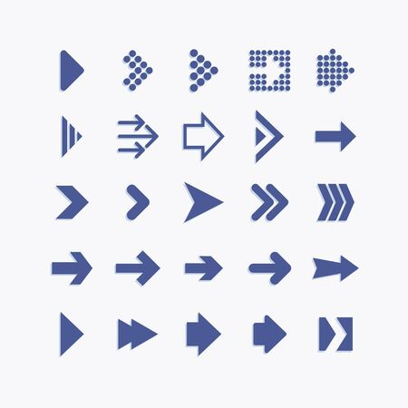 Arrows and navigation elements pictogram icons. Illustration