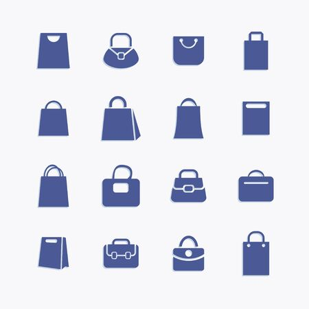 Bag and package pictogram icons collection. Ilustração