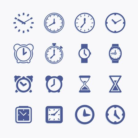 Clock and time vector pictogram icons. Watch and timer design elements.