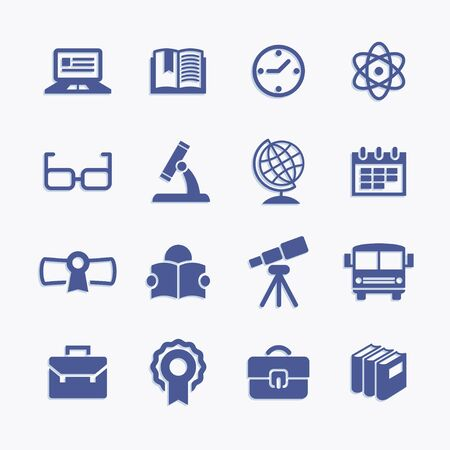 Higher Education pictogram icons set. Back to school. Science and college vector objects.