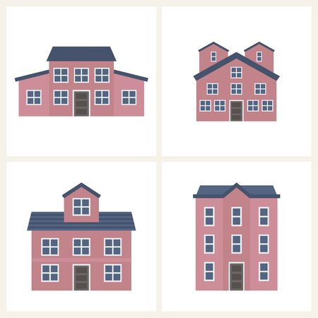 Cottage vector illustration set of cute colorful houses. Home and houses design collection. Vector graphic for real estate design. Village buildings for landscape.
