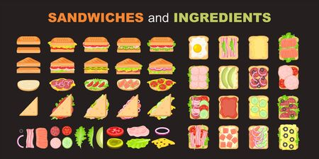 Sandwich vector set. Ingredients: buns, cheese, bacon, tomato, onion, lettuce, cucumbers, pickle onions, beefs, ham. Ready for restaurant menu or cafe design. Food collection.