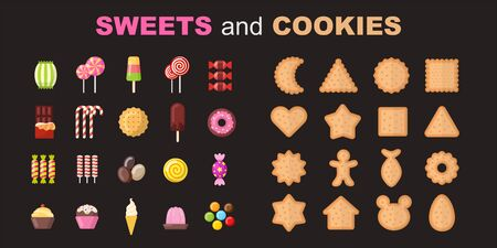 Set of sweet food and cookies vector objects. Party dessert collection. Holiday party food for children.