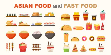 Vector illustration of various fast food and asian food items. Ready for cafe and restaurant menu designs. Unhealthy diet vector set.