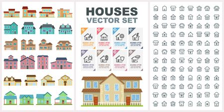 Home and house big vector set. Contain pictogram icons and vector objects. Ready for real estate and city designs. Village and town elements.