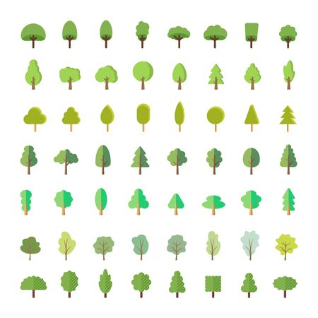Flat trees for a flat design. Natural product store, garden, nature cosmetics, ecology company. Different trees collection. For parks and forest tourism.