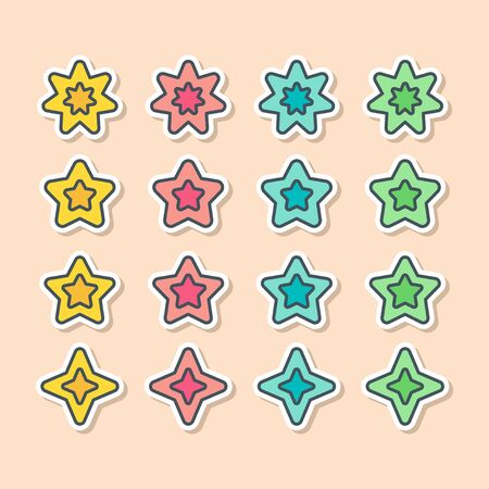 Set of vector stars in sticker style. Holiday decoration and party magic objects. Quality and rate elements for your designs.