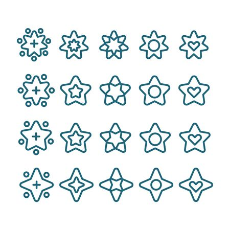 Star pictogram icon set for holiday decoration. Various star shape in vector line style. Ready for graphic designs or app. Ilustração