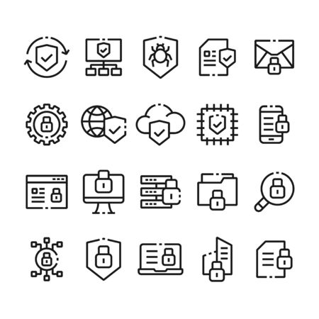 Thin line icon set. Icons for web, data, personal and other protection and security Illustration