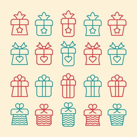 Gift boxes and present package vector line icons.