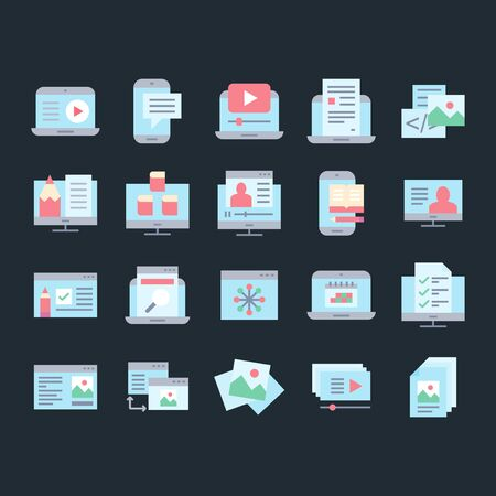 Set of blogging and types of content vector pictogram icons.