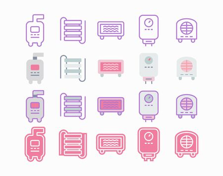 Heating and heaters icon set for water and home comfort.