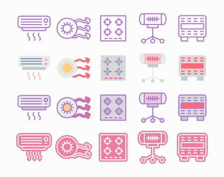 Heating and heaters icon set. Climate control systems for house comfort. Pictogram icons in flat, lineal, glyph and combined variations.