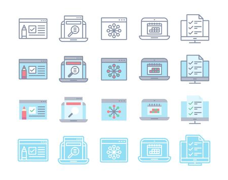 Internet content content icons in flat, line, glyph and combined style. Video information, text and images for websites. Marketing elements for web development.