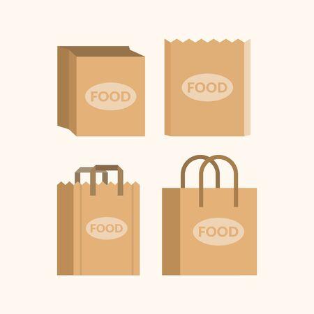 Set of empty paper shopping bags for markets Ilustração