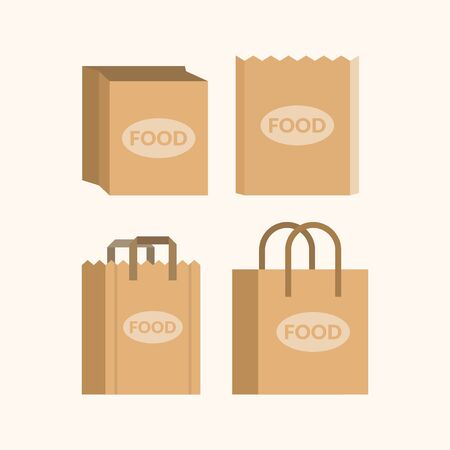 Set of empty paper shopping bags for markets Illustration