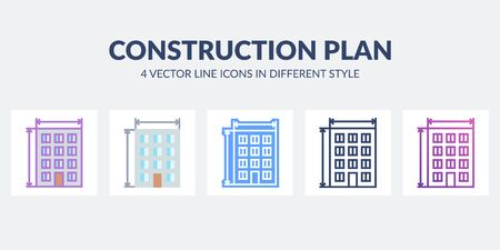 Construction plan vector icon in different styles. Building plan project. Home concept. Ilustração