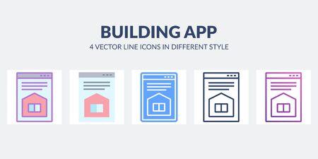 Building app vector icon with house on desctop. Real estate site. Architectural concept. Ilustração