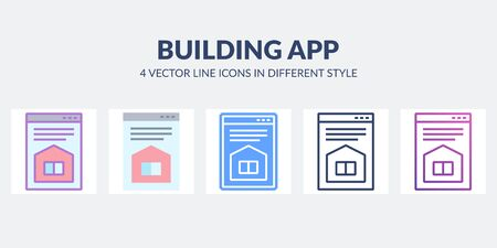 Building app vector icon with house on desctop. Real estate site. Architectural concept. Illustration