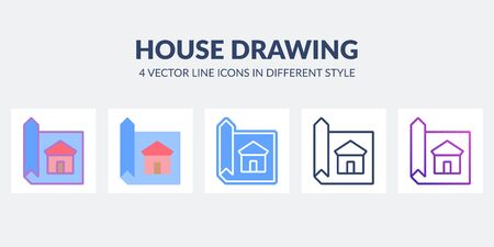 House drawing icon in flat, line, glyph, gradient and combined styles.