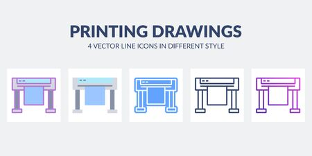 Printing drawings icon in flat, line, glyph, gradient and combined styles.