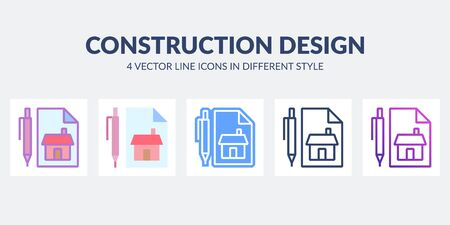 Construction design icon in flat, line, glyph, gradient and combined styles. Illustration
