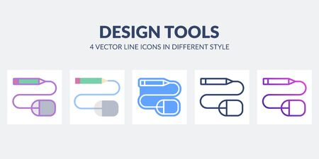 Design tools icon in flat, line, glyph, gradient and combined styles.