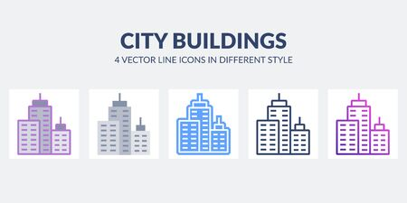 City buildings icon in flat, line, glyph, gradient and combined styles.