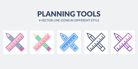 Planning and design icon in flat, line, glyph, gradient and combined styles.