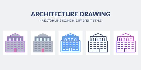 Architecture drawing icon in flat, line, glyph, gradient and combined styles.